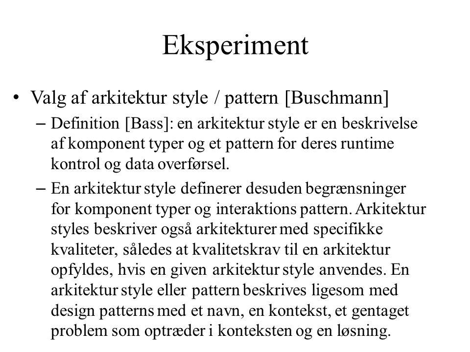 Eksperiment Valg af arkitektur style / pattern [Buschmann]